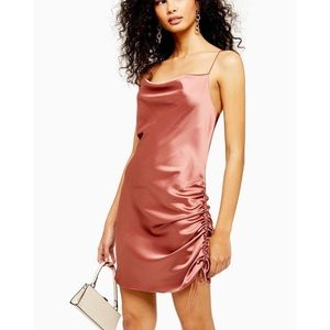 Topshop pink satin ruched dress